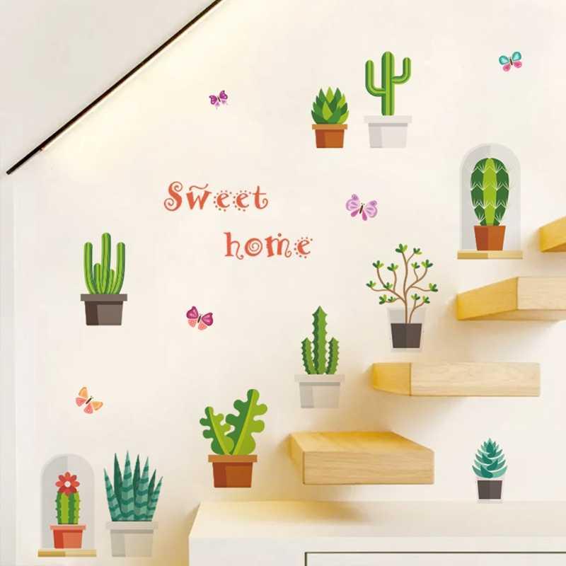 Cacto dos desenhos animados Adesivos de Parede Decalques de Vinil para o Fundo TV Sofá Escada de Decoração Para Casa