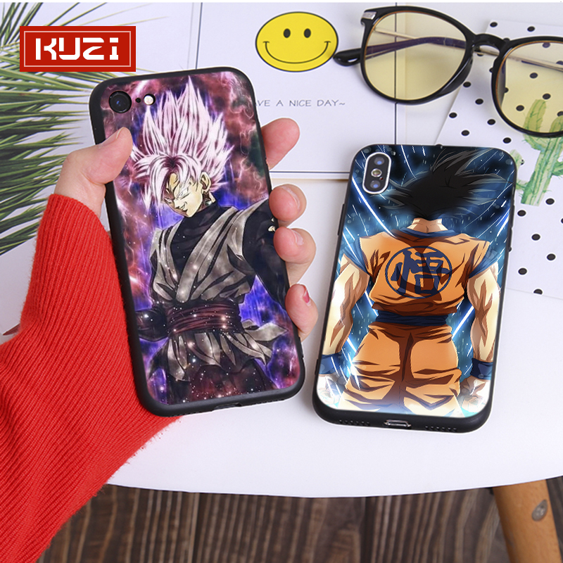 KUZI Dragon Ball Print Soft Case for Iphone X XS MAX XR 6 6s 7 8 Plus TPU SiliconeCover Anti fall Cover for Iphone 7 Case in Half wrapped Cases from Cellphones Telecommunications