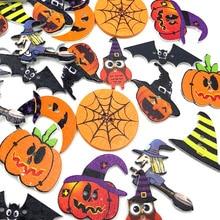 50 шт. деревянные пуговицы для Хэллоуина, смешанные тыквенные шляпы, совы, летучие мыши, 2 отверстия, кнопка для шитья, рукоделия, аксессуары для одежды WB468