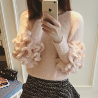 Christmas Sweater 2015 Winter Korean Cute Petal Sleeve Knitted Women Sweaters And Pullovers Knitwear Pink Pull