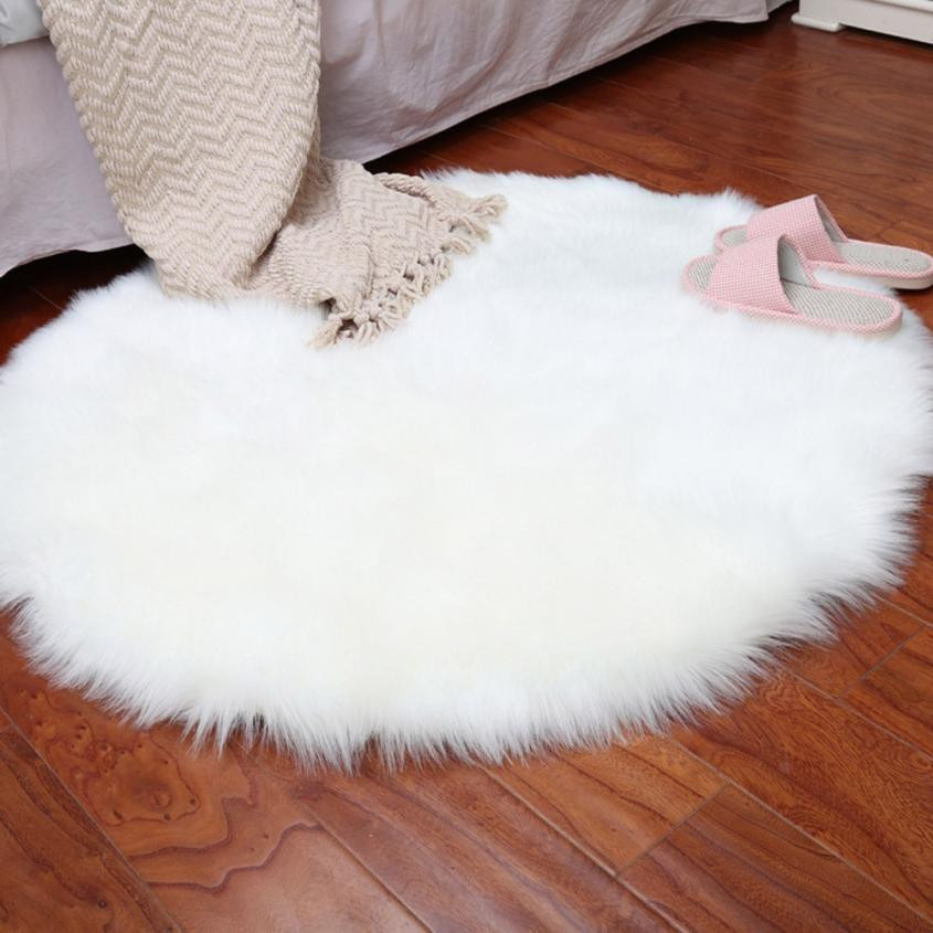 30cm 30cm Fluffy Round Rug Non Slip Bedroom Fake Faux Fur