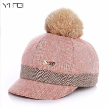 YIFEI Warm Children Winter Baseball Cap 100% Real Rabbit Hair Ball Sports Golf Hat Kid Winter Pompon Equestrian Cap For Girl Boy