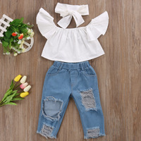 Cute Toddler Girls Kids Off Shoulder Blouse Tops Denim Pants Jeans Headbands 3pcs Outfits Set Clothes