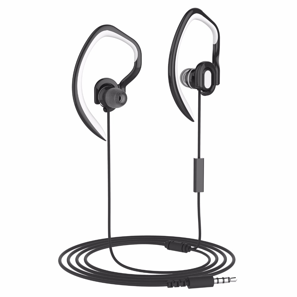 Detachable Earhook In Ear Sport Earphone Wired Workout Sweatproof Running Headphone with Microphone and Hook for iPhone iPod