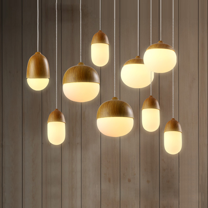 Solid Wooden pendant lamp for study dining room bar bedside bedroom nut lamp decorations lighting painted pendant lights ZA edison inustrial loft vintage amber glass basin pendant lights lamp for cafe bar hall bedroom club dining room droplight decor