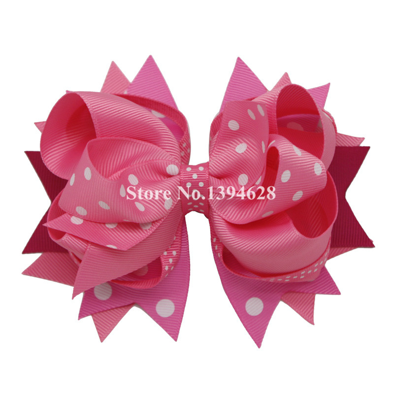 Dine buer 1PC Stacked Boutique Bows Hårklip Polka Dot Girl Bows Hairpins Grosgrain Ribbon Hair Bows Børn Hår Tilbehør