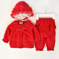 Newborn Cute Cotton Baby Girl Clothing Set Infant Lace Bow Long Sleeve Children Clothes Toddler 3pcs