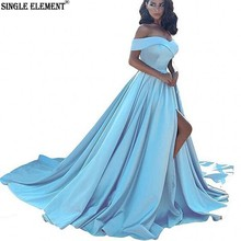 SINGLE ELEMENT Prom Dresses 2019 A line Formal Dress With Slit Long For Party