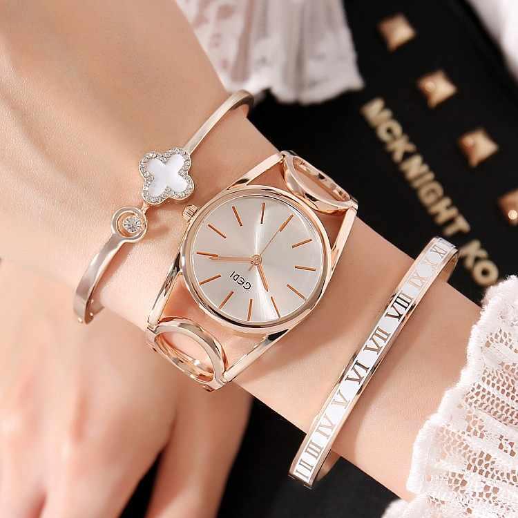 3PC 2019 Luxury Brand Watch Bracelet Watches Hollow Sexy Slim Band Women Bangle Watches Fashion Designer Ladies Quartz Watch