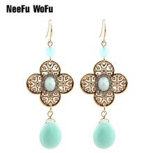 Drop Earrings Dangle Bohemian Water Drops Multicolor Long charm Earring oorbellen brincos Fashion Big Ear Drops Turkish blue