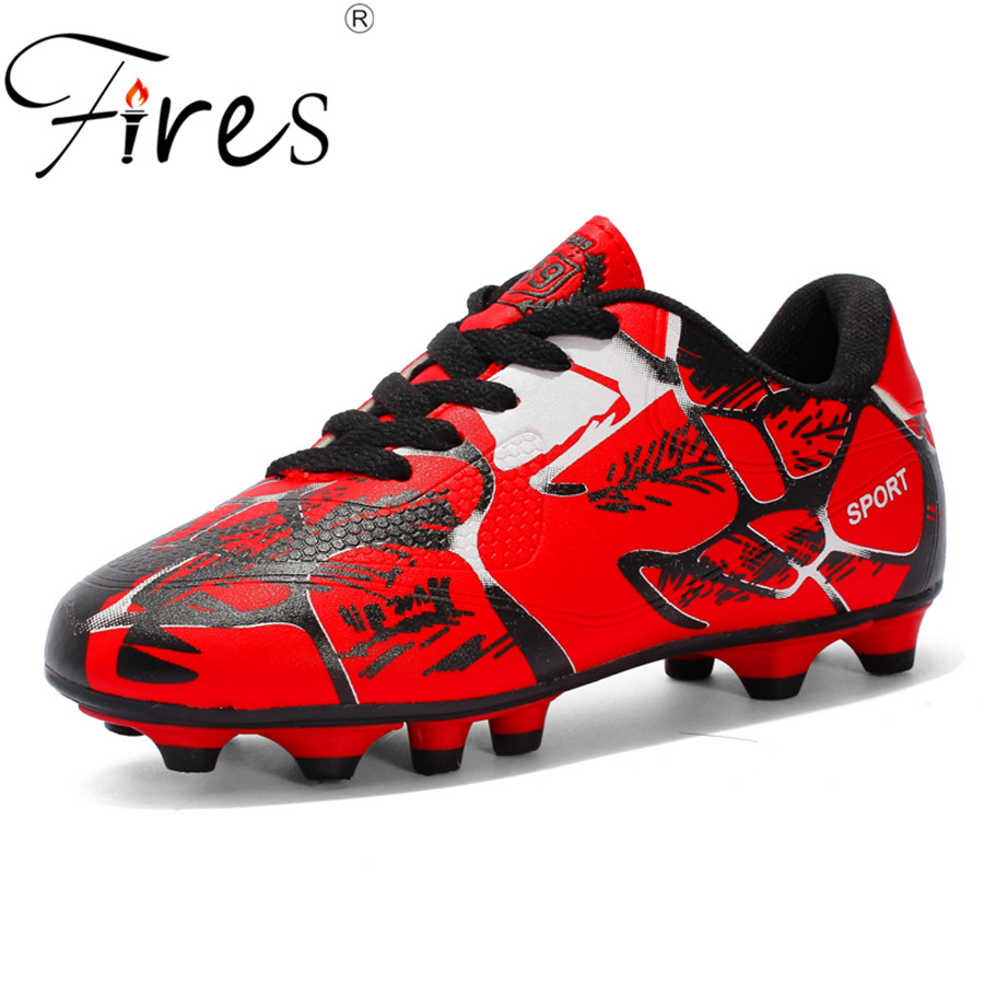 Spring Breathable PU Men and Kids Soccer Shoes Long Spikes Anti-slip Training Football S ...