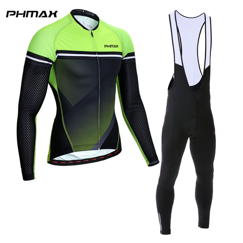 PHMAX Long Sleeve Cycling Jersey Set MTB Bicycle Clothing Maillot Ropa De Ciclismo Racing Bike Wear Clothes Cycling Set For Man