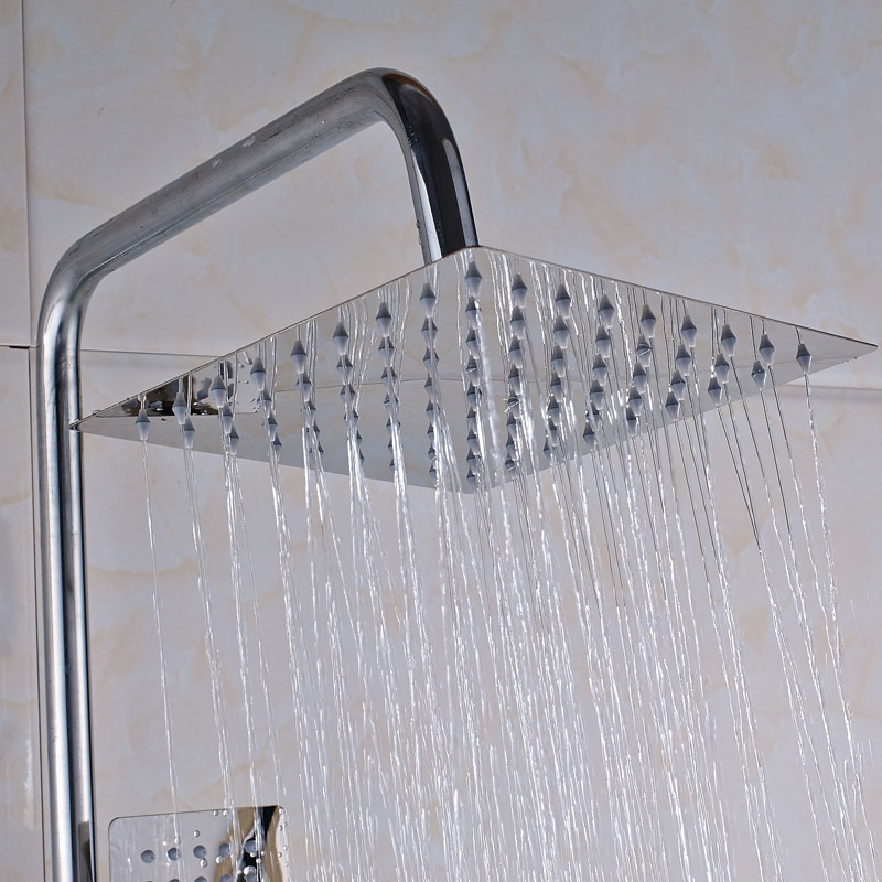 High Quality Chrome Finish Wall Mounted Bathroom Shower Faucet with 8 Brass Shower Head