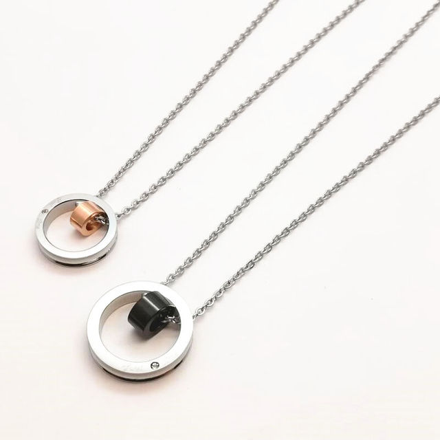 Lovers couple necklaces stainless steel interlocking double loop lovers couple necklaces stainless steel interlocking double loop pendants eternal his her rose gold black aloadofball Image collections