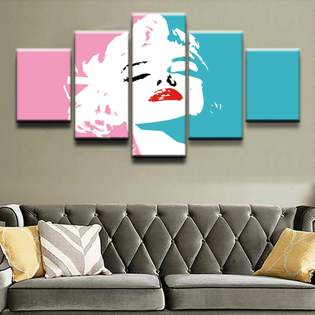 Canvas Paintings Wall Art Framework 5 Pieces Celebrity Marilyn Monroe Pink Poster HD Prints Modular Pictures Living Room Decor