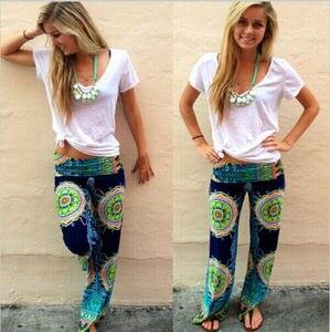 Image 3 - New Arrival kobiety Boho luźna szeroka nogawka spodnie drukuj plaża dorywczo wysokiej talii letnie spodnie plażowe długie spodnie Dropshipping