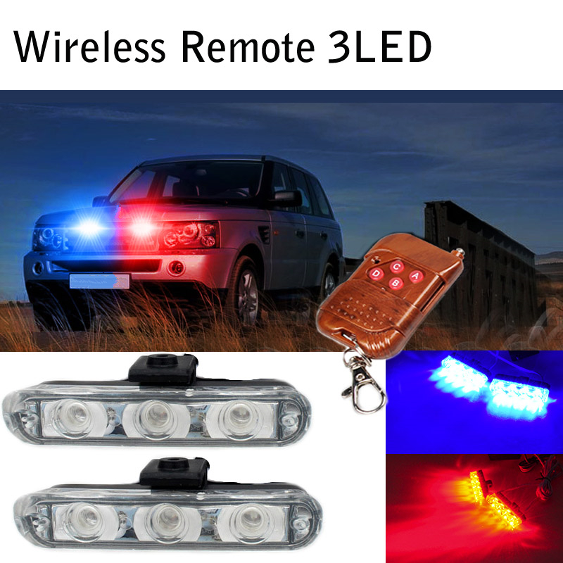 Wireless 2*3 LED DRL Daytime Running Light Strobe warning Lights Flash Emergency Firemen External Blue/Red/Yellow/White 4in1 daytime running light 12v 12w led car emergency strobe lights drl wireless remote control kit car accessories universal