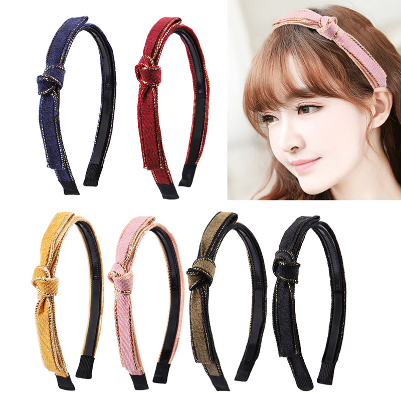 Candygirl Knitting Twisted Knotted Headband Women Girls Children Dual Row Teeth Hair band Headwear Shiny on Side Accessorie