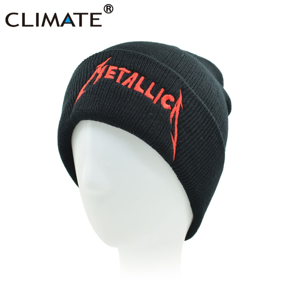 CLIMATE Men Women Winter Warm Beanie Hat Rock Metallica ACDC Rock Band Warm  Winter Knitted Beanies Hat Cap For Adult Men Women 0b214f7ee02