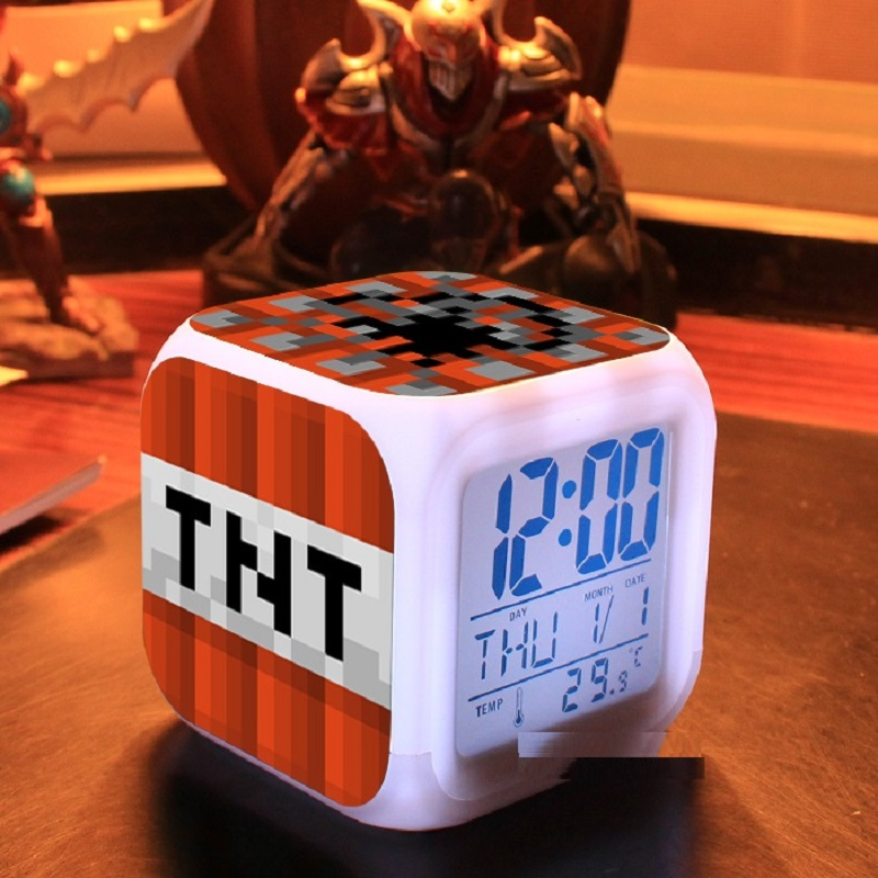 Multifunction Colorful Cartoon Alarm Clock with LED Light Digital Night Electronic Minecraft Action Figure Toys Kids Party Gift alarm clock robot kids gift