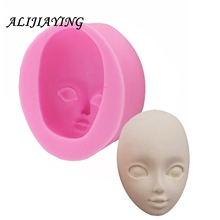 Baby Face Silicone Mold Chocolate Polymer Clay Craft Molds Handmade Dolls girl Sugar craft Mould Baking Tools D0947