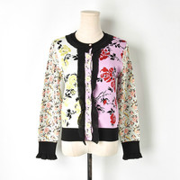 High Street Women's Cardigan Lace Patchwork Sweaters Jacquard Flowers 2018 Autumn Runway Female Elegant Tops Knitted Ruffle Coat
