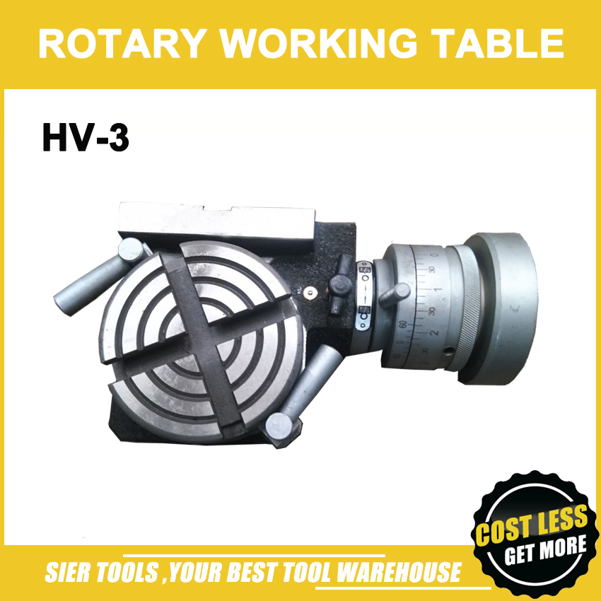 HV 3 Vertical and Horizontal Rotary Table 75mm Mini working table for milling drilling Machine