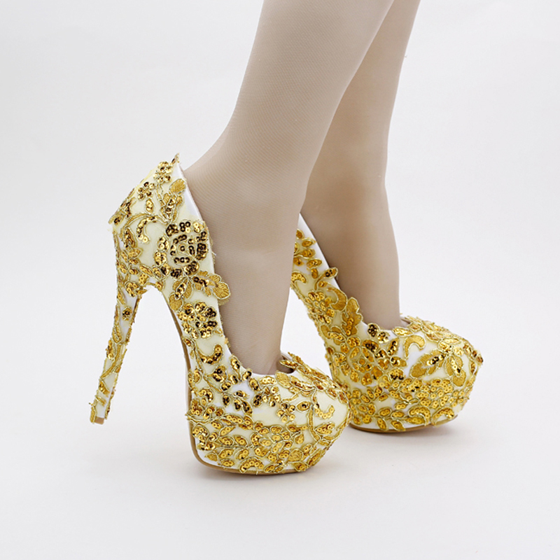 Handmade 14cm Heels Women Evening Party Bridesmaid Pumps Gold Bridal Shoes Lace Glitter Formal Dress Shoes Stiletto Heel