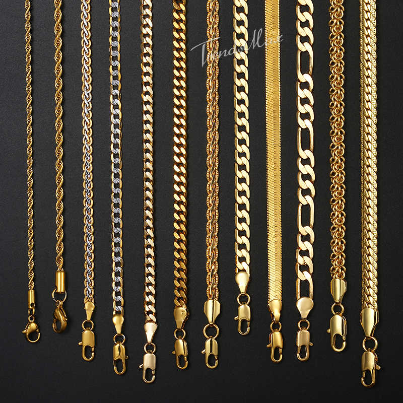 "Necklace For Women Men Gold Filled Figaro Rope Snake Curb Cuban Link Chain Mens Womens Fashion Jewelry 18-24"" GNN2"