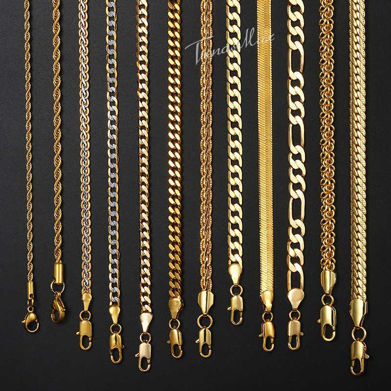 """Naszyjnik dla kobiet mężczyzn złoto wypełnione Figaro liny wąż Curb kubański Link łańcuch mężczyzna kobiet moda biżuteria 18-24 """"GNN2"""