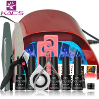 18W LED&UV Lamp French Manicure Kit 4 Colors Sapphire UV Gel Nail Art Tools Sets Kits Nail Gel Nails Tools And LED UV Lamp