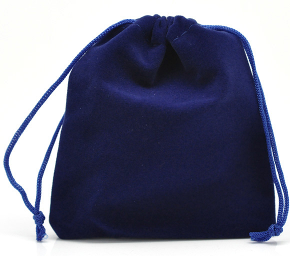 DoreenBeads Velveteen Velvet Bags Rectangle Deep Blue 12cm X10cm(4 6/8