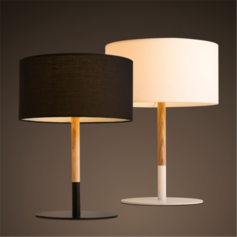 Retro Coffee Shop Table Lamp Wood Cloth Vintage Desk Lamp Bedroom Bar Table Light Desk Light
