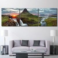 캔버스 인쇄 벽 예술 3 개 홈 장식 아름다운 아이슬란드 그림 녹색 산 강 풍경 포스터 액자
