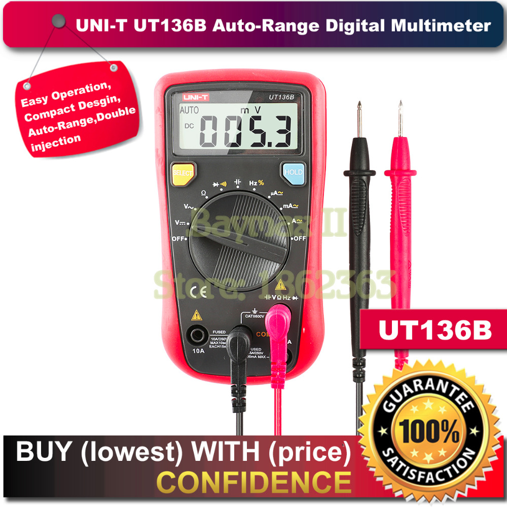 UNI T UT136B Handheld DC/AC Voltage Current Resistance Frequency Auto ranging Digital Multimeters with Capacitance Test