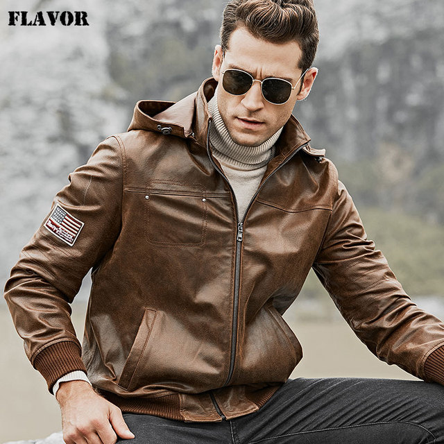 00511869ab865 FLAVOR Men's Real Leather Jacket Men Pigskin Motorcycle Leather Coat with Removable  Hood