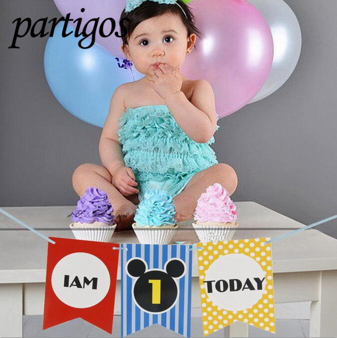 """Baby Boy Girl First Birthday Party One Year OldChair Flag Banner """"I'M 1 Today""""  Birthday Hanging bunting celebrate Party Decor"""