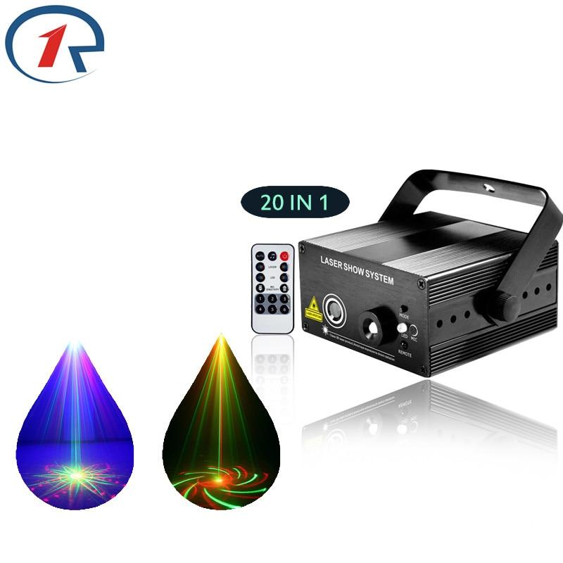 ФОТО ZjRight IR Remote 20pattern Red Green Laser Stage Light Sound control Mix Blue LED Effect light Family party bar dj disco light