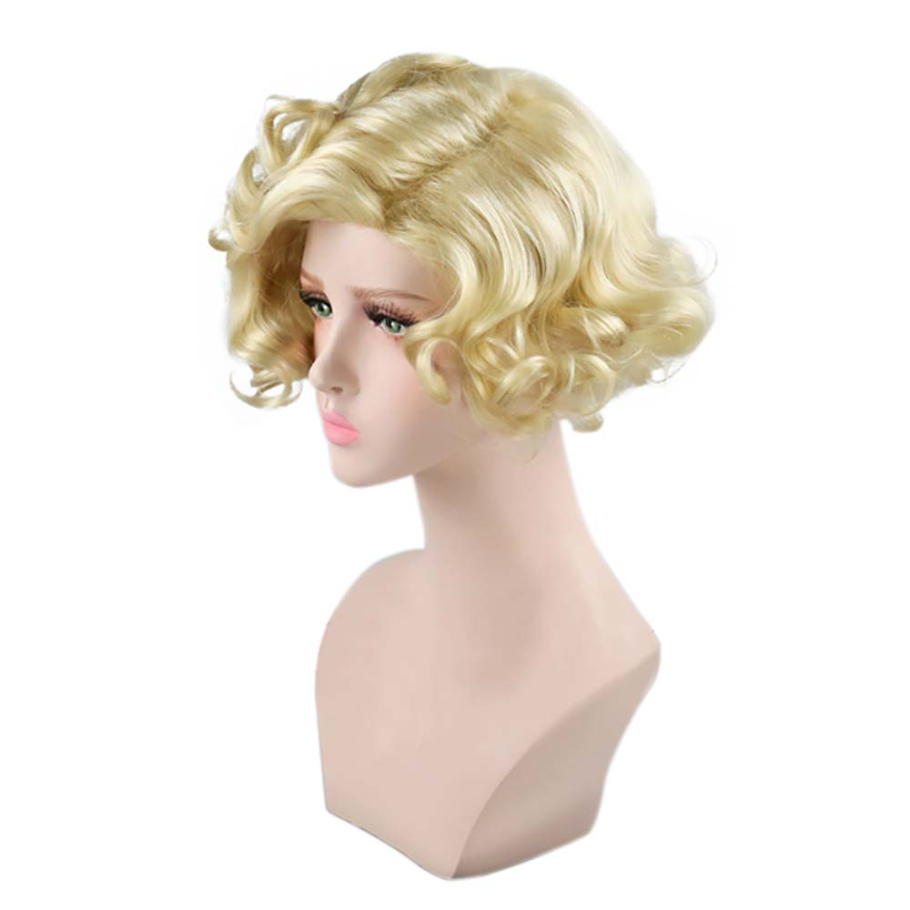 Contemplative Adult Women Marilyn Monroe Wig Blonde Short Curly Hair High Quality Heat Resistant Fiber Costume Wig 1950s Fancy Dress Easy To Lubricate