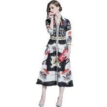 цена 2019 Summer New Casual Slim Temperament Ladies Dress Lapel Cropped Sleeves Printed High Waist Single-Breasted Large Swing Dress