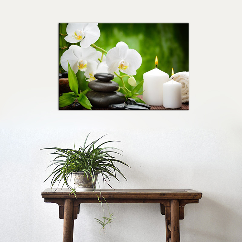 Canvas Prints Wall Art For Bathroom Spa Stone Flower And Candle Picture Canvas Art Modern Artwork Framed Painting Calligraphy Aliexpress