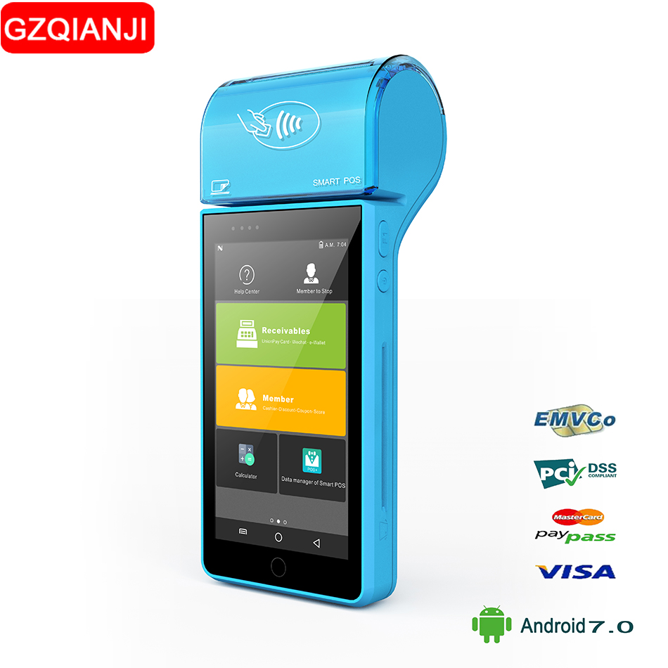 все цены на Android 7 Mini POS Thermal Printer Barcode Scanner Handheld POS Terminal Pos PDA Built-in 58mm Thermal Receipt Bill Printer NFC онлайн