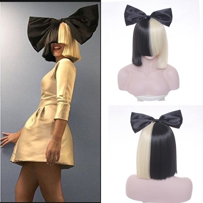 Women's Sia Wig Medium Long Half Black and Blonde Cosplay Party Wigs.Synthetic Hair