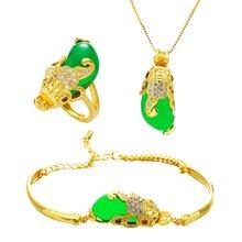 Зеленый украшения с зеленым камнем набор желтое золото заполнены