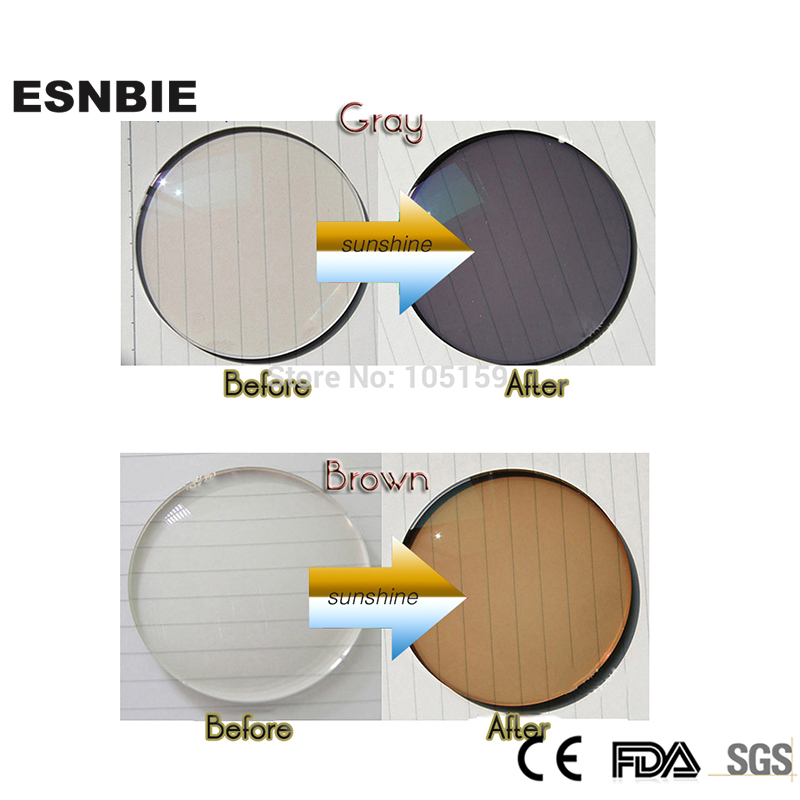 ESNBIE Customized  Photochromic Lenses Prescription Lens for Eyes Protection 1.56 Index Aspheric Lens CR39 SUNGLASS Color Lens