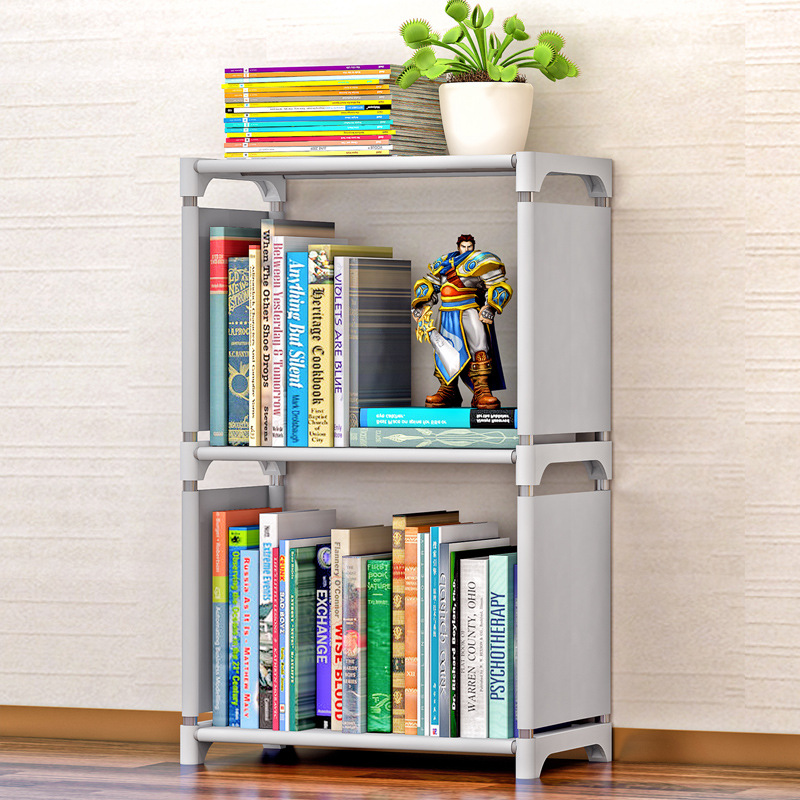 Minimalist Modern Creative Home Decoration Removable Assembly 2 Grids Stainless Steel Book Shelf Living Room Storage Furniture