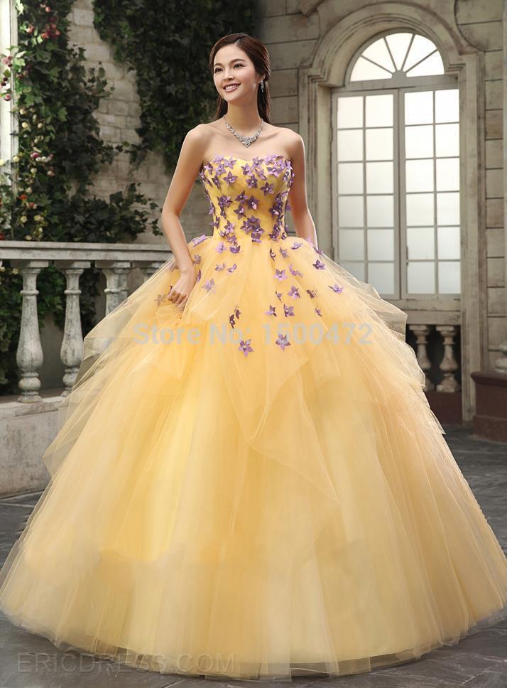 color especial apliques balón vestido de novia de tul amarillo y