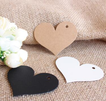 Wholesale 100 Pcs / Lot Brand New Kraft Paper Labels Hang Paper Price Label Wedding Party Gift Tag Card Kraft Brown Black White