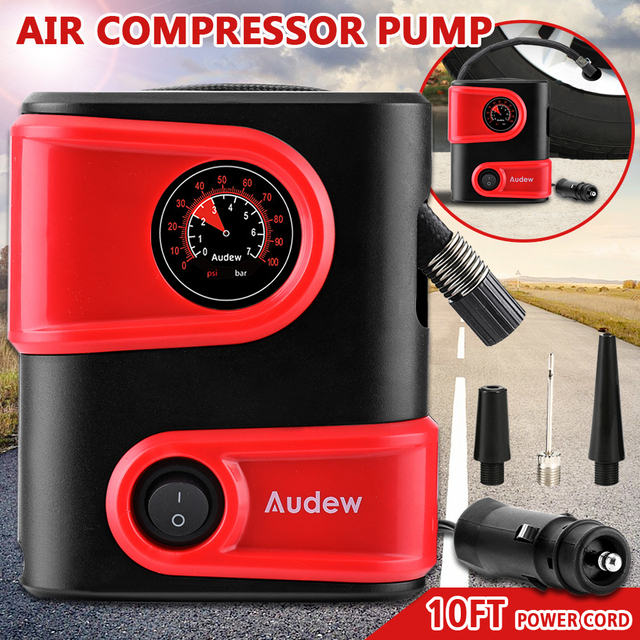 Car Air Compressor Inflatable Pump 12V DC 100PSI Outlet Compact Portable Auto Tire Pump Inflator for Car Bicycles Motorcycles