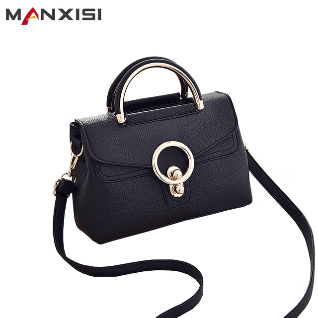 MANXISI Brand Women Messenger bags Black Soft Leather Top-Handle Bags Zipper & Hasp Small Flap Bags Crossbody Bags for Women